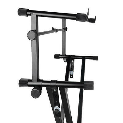 X Style Pro Dual Music Keyboard Stand Electronic Piano Double 2-Tier Adjustable 4