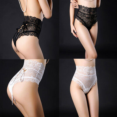 Sexy Women High-Waisted Soothing Underwire Lace Funny Panties Knickers Briefs 4