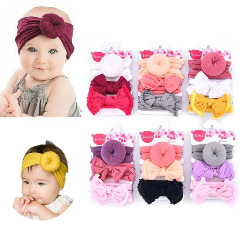 Girls Kids Baby Nylon Bow Hairband Headband Stretch Turban Knot Head Wrap New, 2