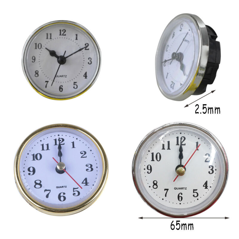 65mm/190mm Clock Quartz  Mechanism Movement Insert Numeral White Face Gold Trim 7