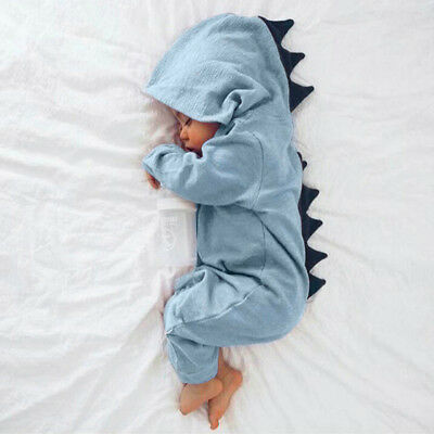 Newborn Infant Baby Boy Girl Kids Dinosaur Hooded Romper Jumpsuit Clothes Outfit 6