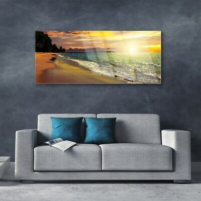 Acrylglasbilder Wandbilder Druck 125x50 Sonne Strand Meer Baum Landschaft