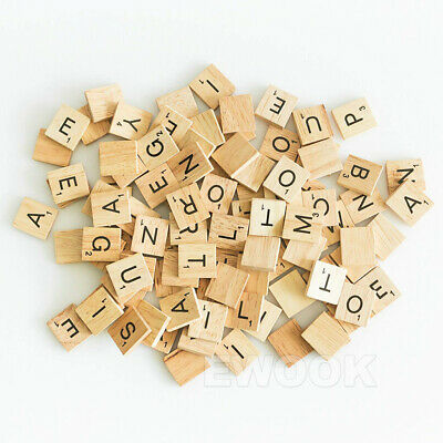 200PCS Wooden Alphabet Scrabble Tiles Black Letters & Numbers For Crafts Wood 9