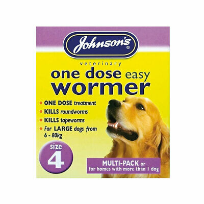 Johnson's One Dose Wormer Puppy Dog Roundworm Tapeworm Worming Tablets All Sizes 5