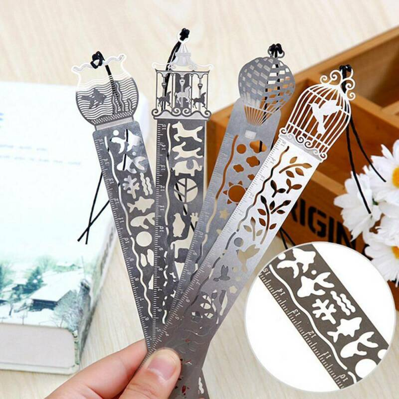 Ultra-thin Metal Delicate Cutout Bookmark Tape Ruler Marker Bookmarks Stationery
