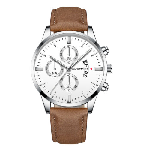 Fashion Sport Men's Stainless Steel Case Leather Band Quartz Analog Wrist Watch 11