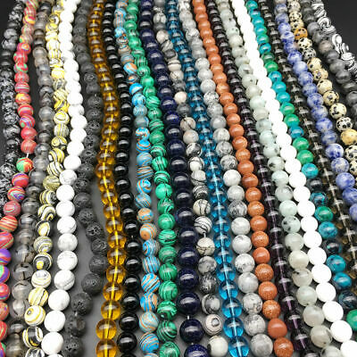 Natural Gemstone Round Spacer Beads 4mm 6mm 8mm 10mm 12mm Wholesale Assorted 3