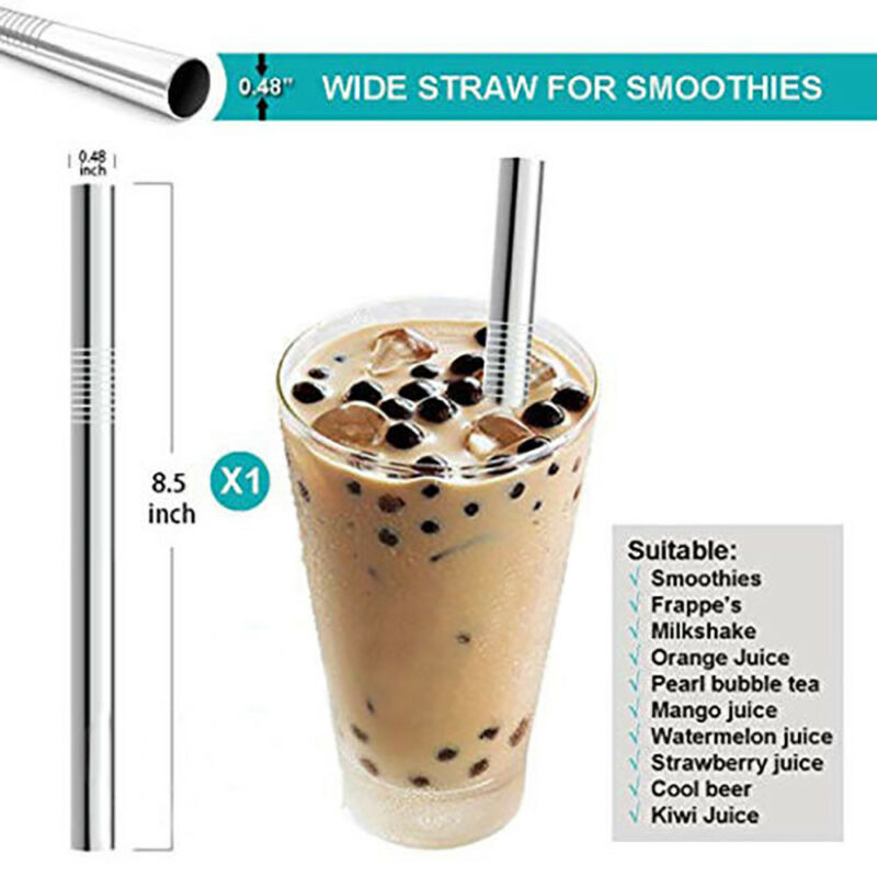10pc Reusable Drinking Straw Stainless Steel Metal Straws Wide Straw Smoothies 6