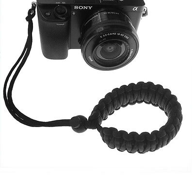 New Universal Black Braided 550 Paracord Adjustable Camera Wrist Strap Bracelet 3