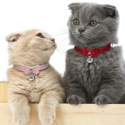 Small Pet Dog Cat Collar Leather Bow Tie With Bell Puppy Kitten Necktie Collar 4