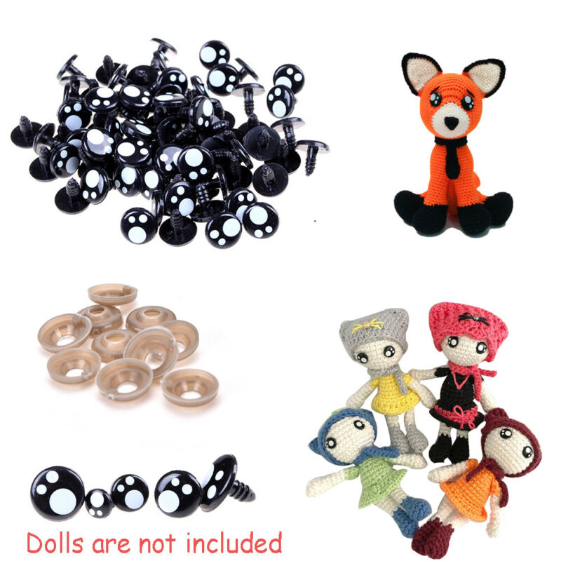 100Pcs 8/12/16 mm Plastic Safety Eye Nose for Teddy Bear Doll Animal Toy Craft-- 5