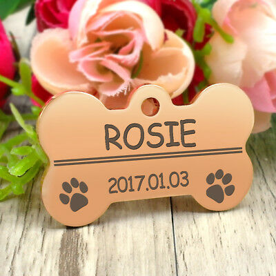 Glitter Paw Print Dog Tag Personalized Engraved Cat Pet ID Name Tag Bone Shape 11