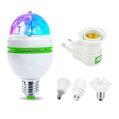 E27 B22 E14 RGB Crystal Ball Auto Rotating LED Stage Light Bulb Disco Party Lamp 2