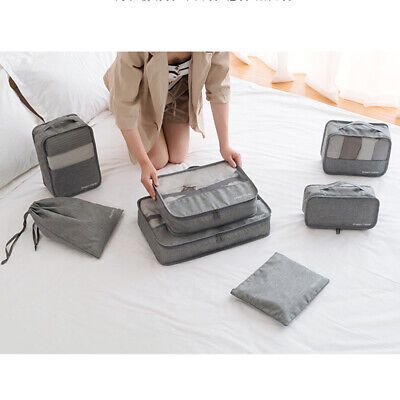 7Pcs Packing Cubes Travel Pouches Luggage Organiser Clothes Suitcase Storage Bag 3