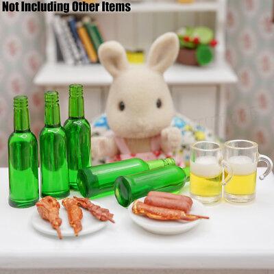 1:12 Miniature 6pcs Green Beer Wine Bottles Set Drink Beverage Model Dollhouse 6