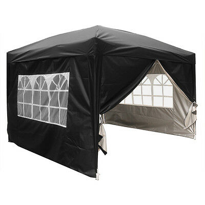 3x3m Pop Up Gazebo Marquee Outdoor Garden Party Tent Canopy 4 Side Panels New 4