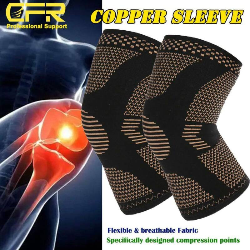 Knee Sleeves Compression Brace Support Sport Joint Injury Pain Arthritis Copper 3