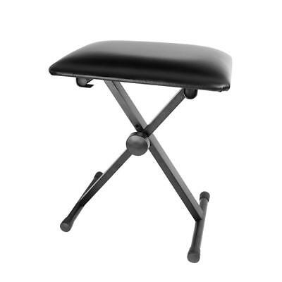 Adjustable Folding Piano Keyboard Bench Leather Padded Stool X Seat Chair Black 3