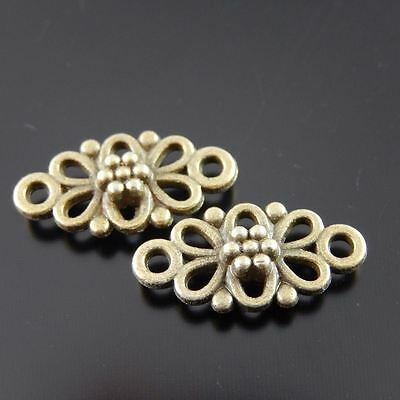 30X Vintage Style Bronze Tone Flower Hollow 10*8*2mm Pendant Charms Findings 2