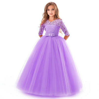 Flower Girl Dress Princess Party Wedding Bridesmaid Kid Formal Gown Long Dresses 4