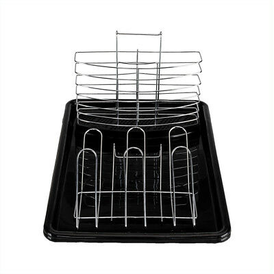 Large Capacity 2 Tier Dish Drainer Drying Rack Kitchen Storage Stainless Steel 8