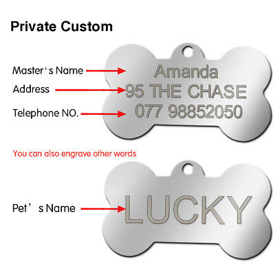 Engraved Pet Dog Tags Custom Cat ID Name Tags for Pets Personalized FREE S M L 8