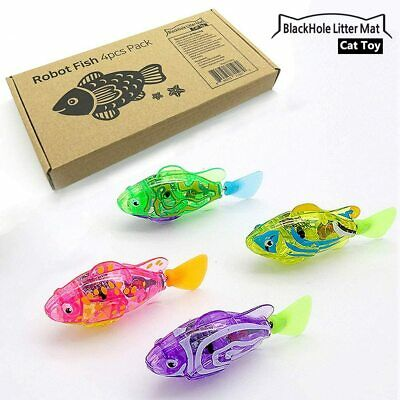Interactive Swimming Robot Fish Toy for Cat with LED Light 4pc Set 8