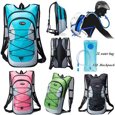 Hiking 12L/5L Bike Bicycle Hydration Pack Backpack Rucksack+2L Water Bladder Bag 4