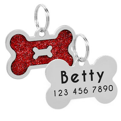 Glitter Bone Shape Personalized Dog Tags Engraved Pet ID Name Collar Tag Charm 2