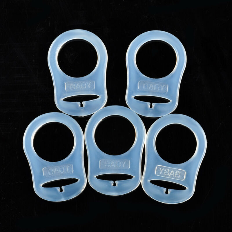 5 pcs SILICONE MAM RING PACIFIER HOLDER CLIP ADAPTER