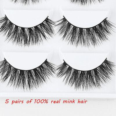 3 Pairs 100% Real 3D Mink Makeup Cross False Eyelashes Eye Lashes Handmade /bw 6