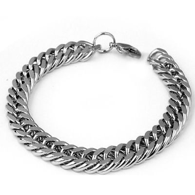Silver Men's Stainless Steel Chain Link Bracelet Wristband Bangle Jewelry Punk 3