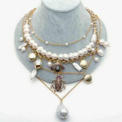 layered chain White Pearl Cz insect multi-layer charm necklace 2