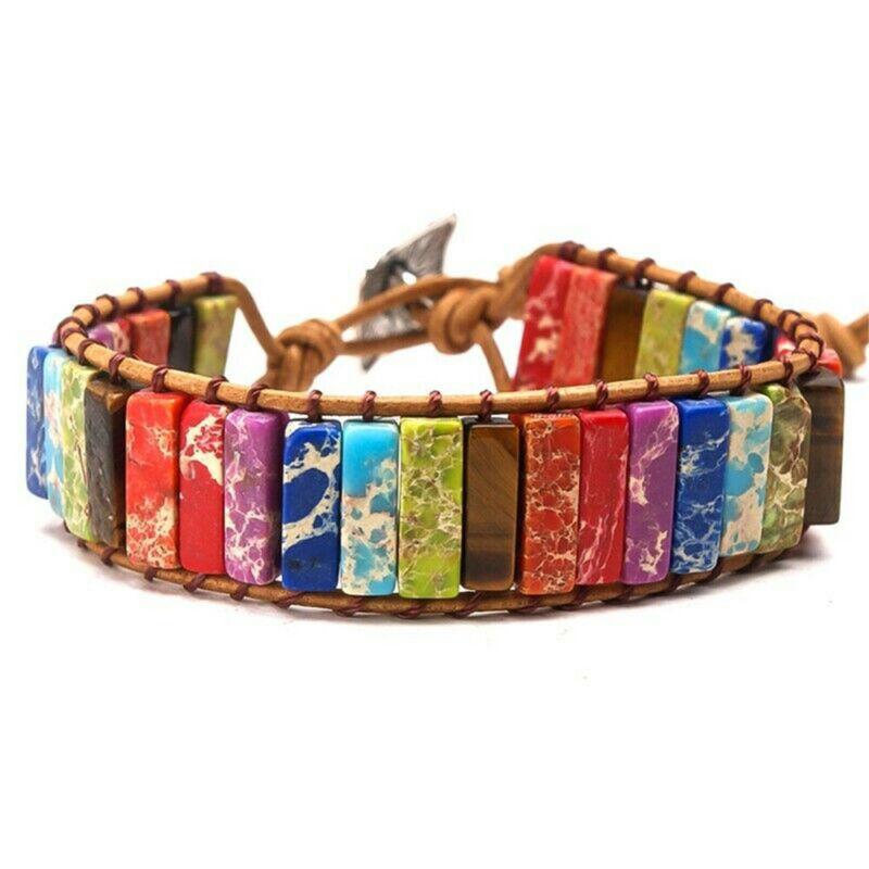 Chakra Armband Schmuck Handgemacht Multi Farbe Naturstein Rohr Perlen Leder D8F3