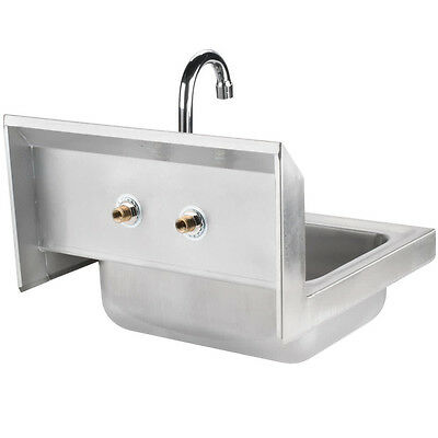 "17"" x 15"" Hand Wash Wall Sink Commercial Stainless Steel Wrist Paddle Faucet NSF"