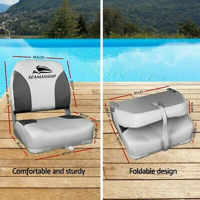Set of 2 Folding Boat Seats Swivel Marine Seat Swivels All Weather Grey Seating 10