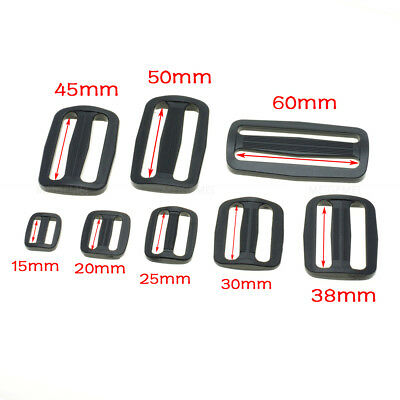 Plastic Slider Tri-Glide Adjust Buckles Backpack Straps Webbing 15mm~50mm Black 2