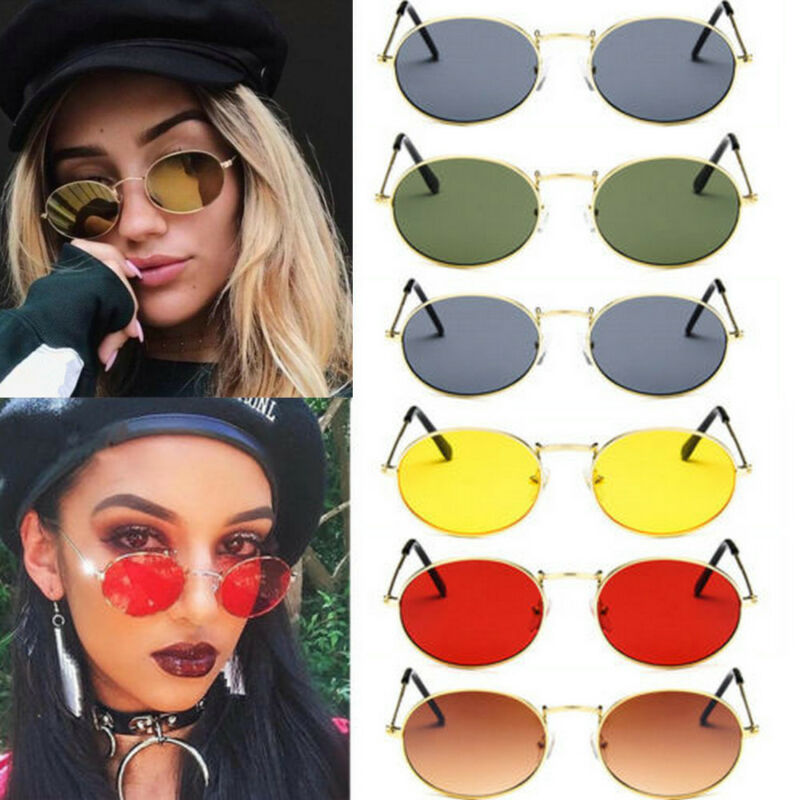 Women Round Sunglasses Small Oval Metal Lens Fashion Vintage Style Glasses Shade 2