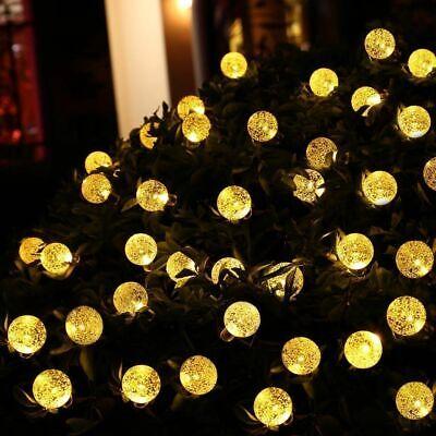 50 LED solaire de jardin alimenté fée partie chaîne boule de cristal lumière 2