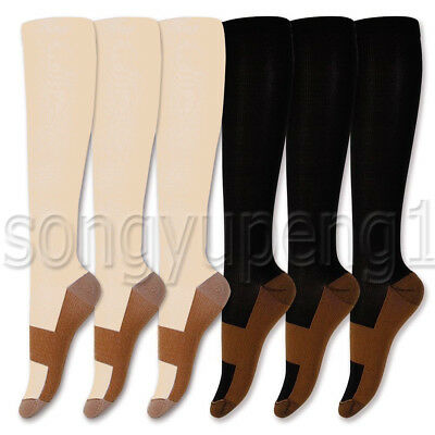 6 Pairs Copper Infused Compression Socks 20-30mmHg Graduated Mens Womens S-XXL 2