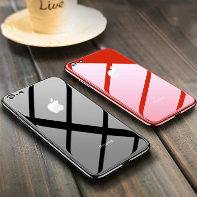 Tempered Glass Phone Case For iPhone Xs Max 8 7 Plus Cover Luxury TPU Hard Cases 5