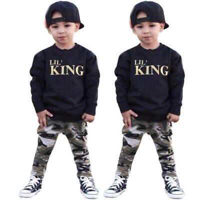 2pcs Newborn Toddler Infant Kids Baby Boy Clothes T-shirt Tops+Pants Outfits Set 2