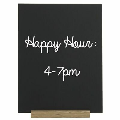 "Expressly HUBERT® Matte Black Sign with Wooden Base - 8 1/2""L x 11""H 5"