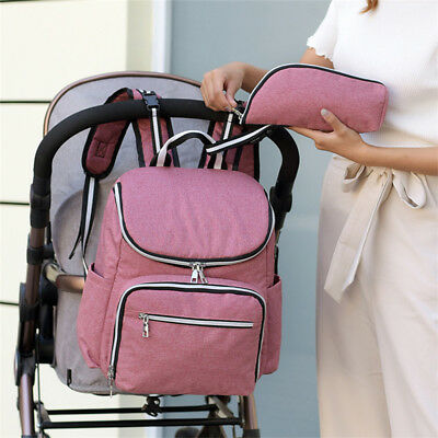 Large Mummy Diaper Bag USB/Earphone Port Baby Nappy Travel Backpack Bottle Hold 10