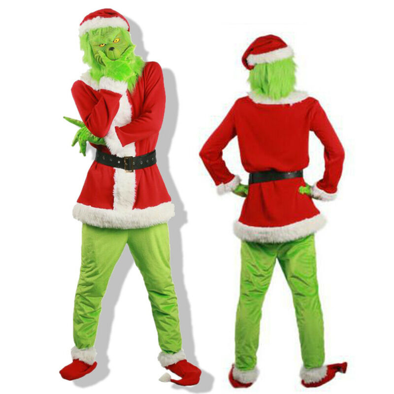 The Grinch Mask Adult Costume Cosplay How the Grinch Stole Christmas Outfits UK 4