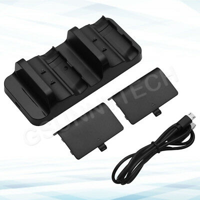 XBOX ONE Dual Charging Dock Station Controller Charger w/ 2 Rechargeable Battery