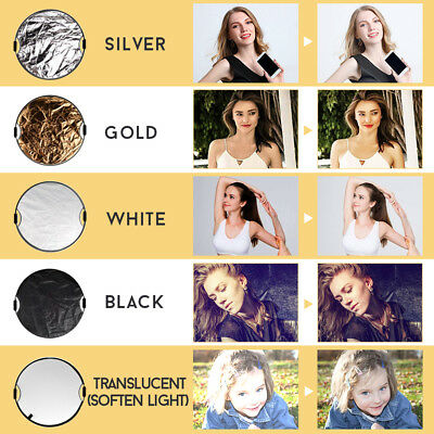 110CM 5in1 STUDIO PHOTOGRAPHY PHOTO COLLAPSIBLE LIGHT REFLECTOR & HANDLE GRIP AU 7