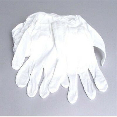 White Cotton Gloves Soft Thin Jewelry Silver Inspection Work Handling Gloves UK 8