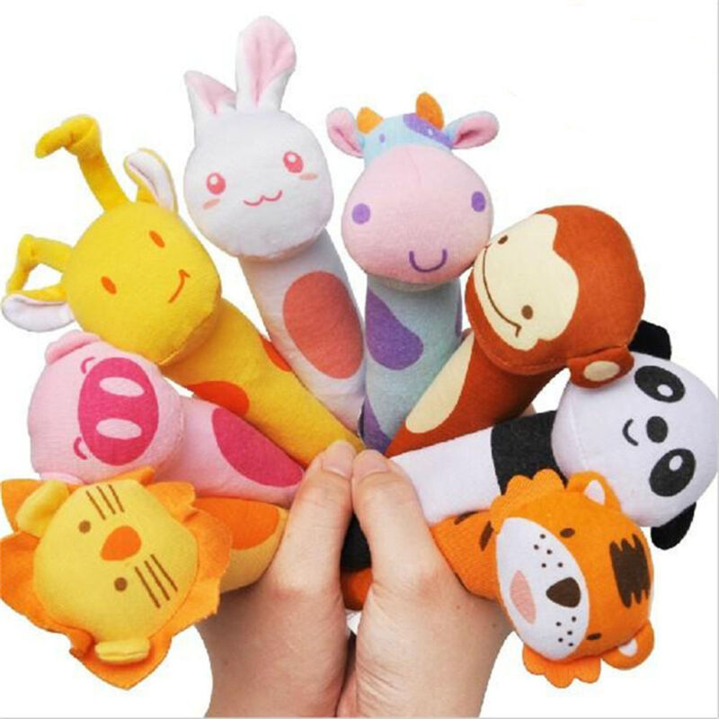 HOT Soft Sound Animal Handbells plush Squeeze Rattle For Newborn Baby Toys Gift
