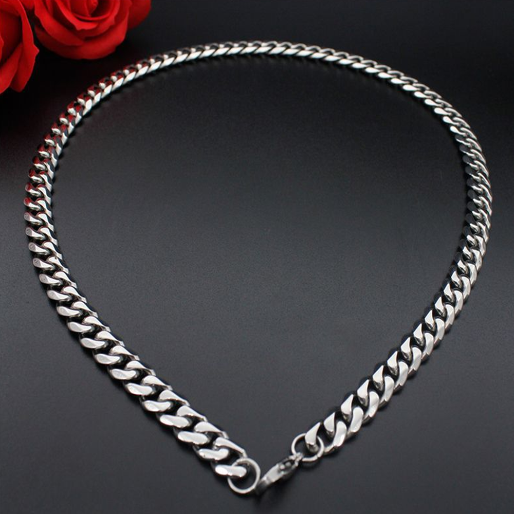 Man Women 316L Stainless Steel 2mm/3mm/4mm/5mm Silver Cuban Curb Chain Necklace 5
